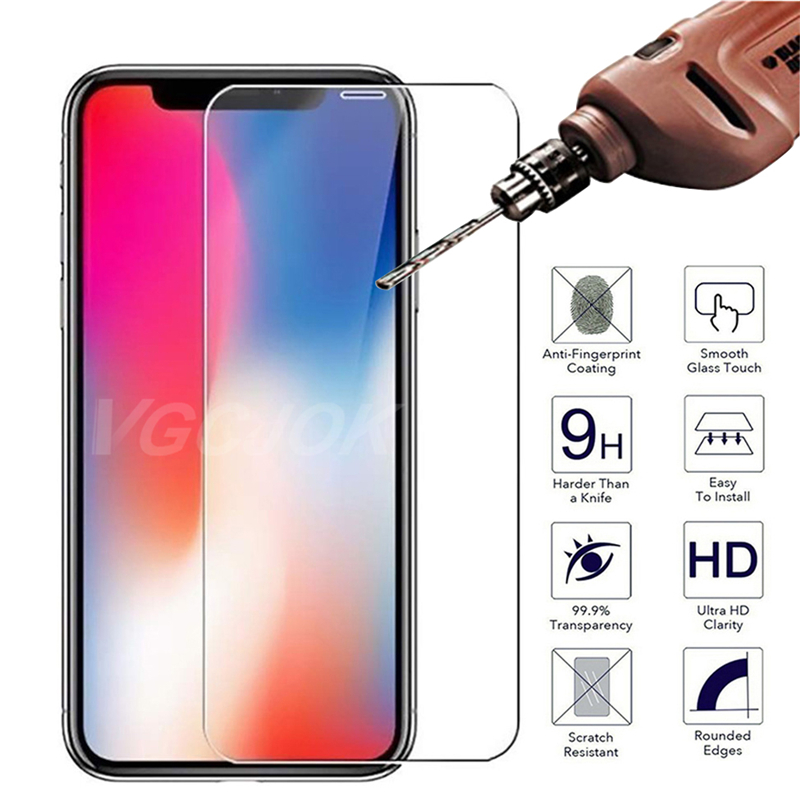 9H 2.5D Protective Glass On The For Iphone X XS 11 Pro Max XR 7 8 Plus Screen Protector Protection Tempered Glass Cover For Iphone 5s SE 5 4S 4 6S 6 Plus Full Glue Transparent Glass Film Case