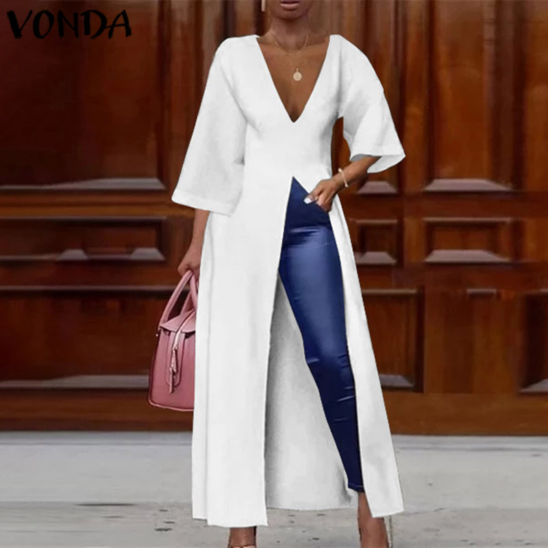VONDA Women Deep V Neck Split Long Dresses Cocktail Party Sexy Dress Long Shirts Office Blouse Female Holiday Vestido Plus Size