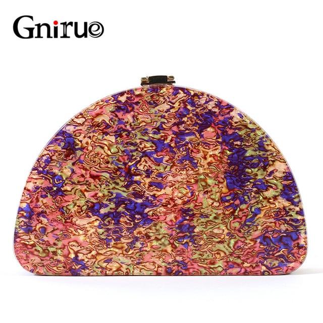جديد نصف دائرة المرأة حقيبة الاكريليك الترتر ليلة عشاء محفظة حقائب امرأة الزفاف مساء حقائب العصرية الملونة صندوق حفلات مخلب