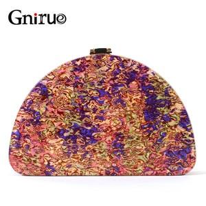 Image 1 - Yeni yarım daire kadın çantası akrilik pullu gece akşam yemeği çanta çanta kadın düğün akşam çanta moda renkli parti kutusu debriyaj