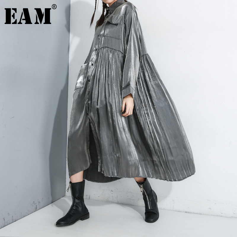 [EAM] Women Black Pleated Split Big Size Shirt Dress New Lapel Long Sleeve Loose Fit Fashion Tide Spring Autumn 2020 1R169