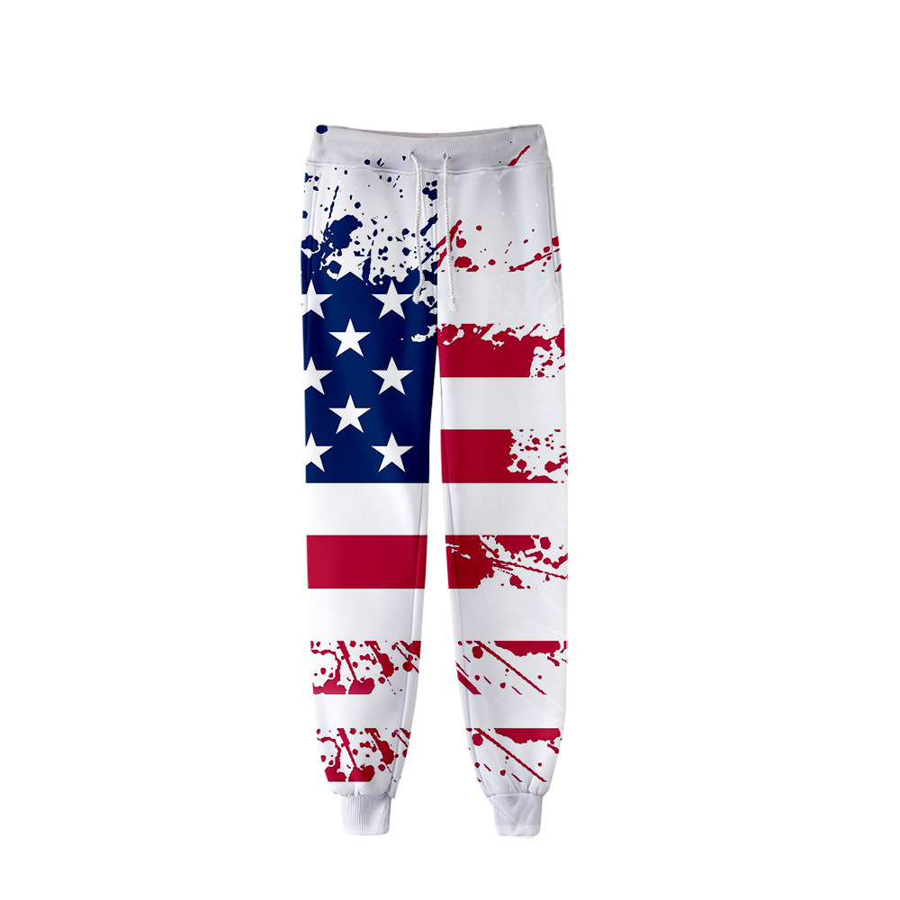 2019 New Style Hot Sales America Independence Day Digital Printing 3D Men And Women Casual Versatile Ankle Banded Pants