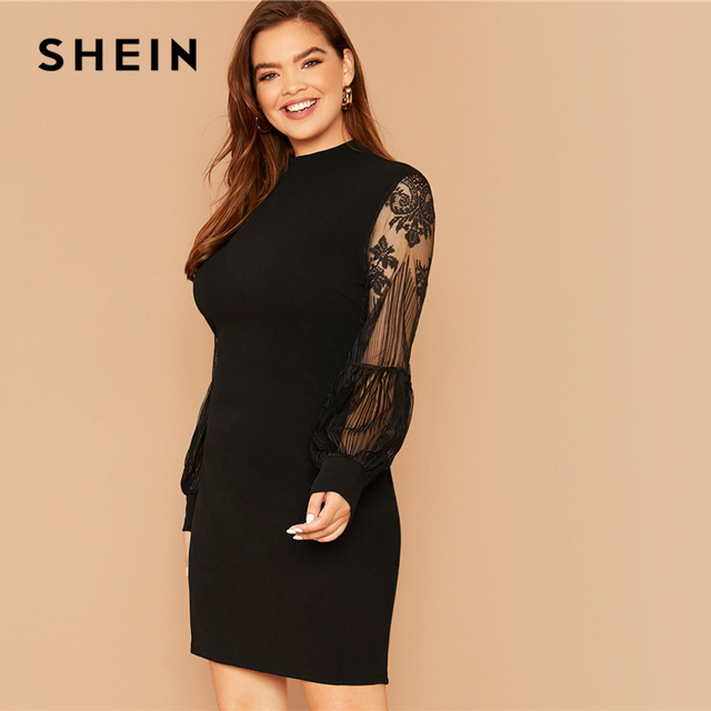 SHEIN Plus Size Black Mock-Neck Lace Lantern Sleeve Solid Dress Women Summer Autumn Plus Elegant Fitted Short Dresses 1