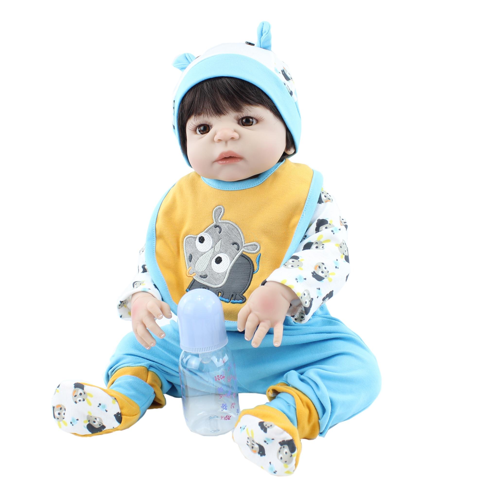 55CM Soft Silicone Body Reborn Baby Boy Doll Toy For Girl Lifelike Vinyl Newborn Alive Babies