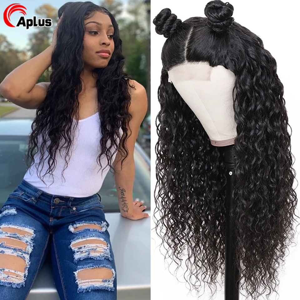 Water Wave Lace Front Wig For Black Women 13x4 13x6 360 Frontal Human Hair Wigs Peruvian Remy Black Hair Long Wig 150% Density