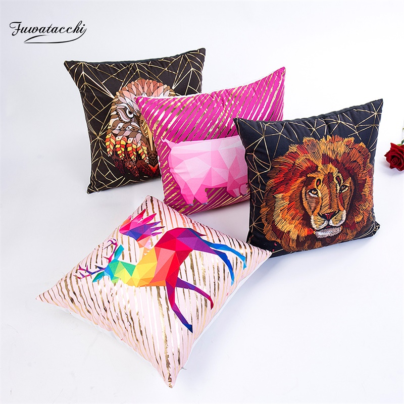 Fuwatacchi Gold Stamp Painting Cushion Cover Animal Lion Deer Print Throw Pillows Cover Home Sofa Decor Dianmond Pillow Case in Cushion Cover from Home Garden