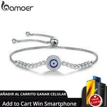 Pulseira de prata refinada 925 autêntica bamoer, joia ajustável de prata esterlina azul para mulheres com corrente