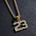 Neue Ankunft Kristall Hip Hop Basketball Legende Nummer 23 Halsketten & Anhänger Bling Gold Kubanischen Kette Halskette Schmuck für Männer