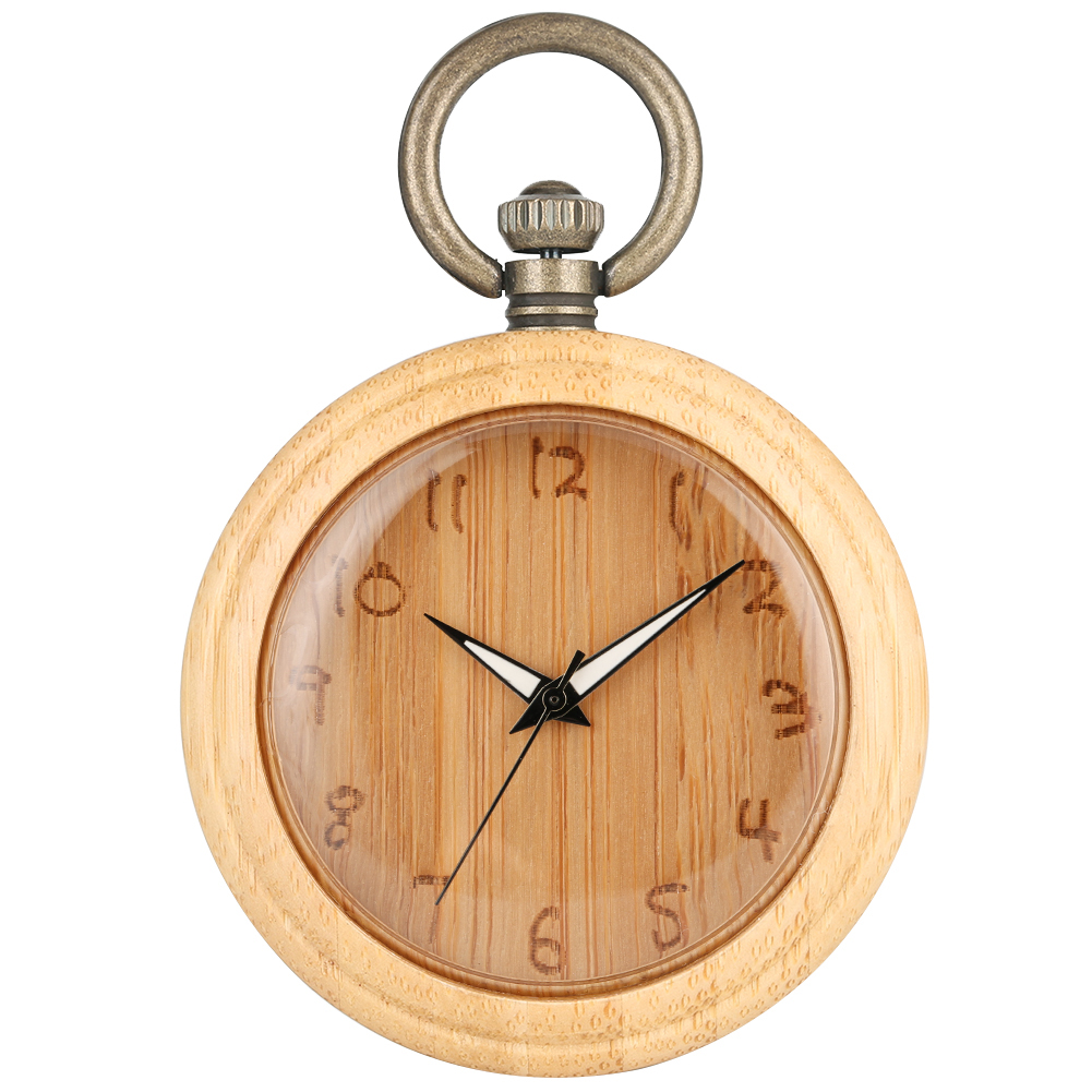 Concise Bamboo Pocket Watch Carved Dial Necklace Chain Women Clock Classic Bronze Rough Chain Men Gift Pendant Montre De Poche