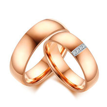 Rose gold engagement ring set for men &women him &her couples lover stainless steel wedding band Christmas gifts girl boy friend(China)