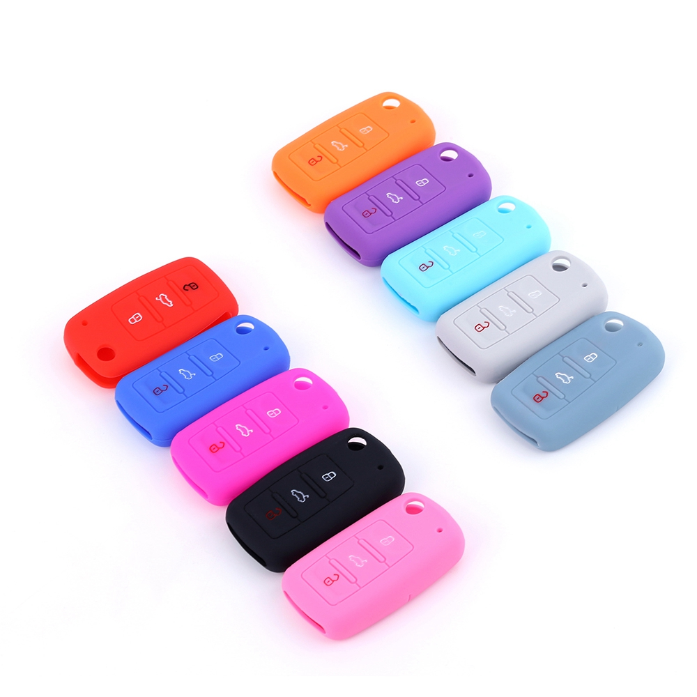 Hot Silicone Car Key Cover Case Shell Fob For VW Golf Bora Jetta POLO GOLF Passat For Skoda Octavia A5 Fabia For SEAT Ibiza Leon
