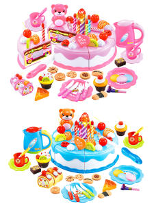 Cake-Toy Birthday-Toys Cutting Fruit Play Food-Pretend Pink Kitchen Blue DIY for Kid
