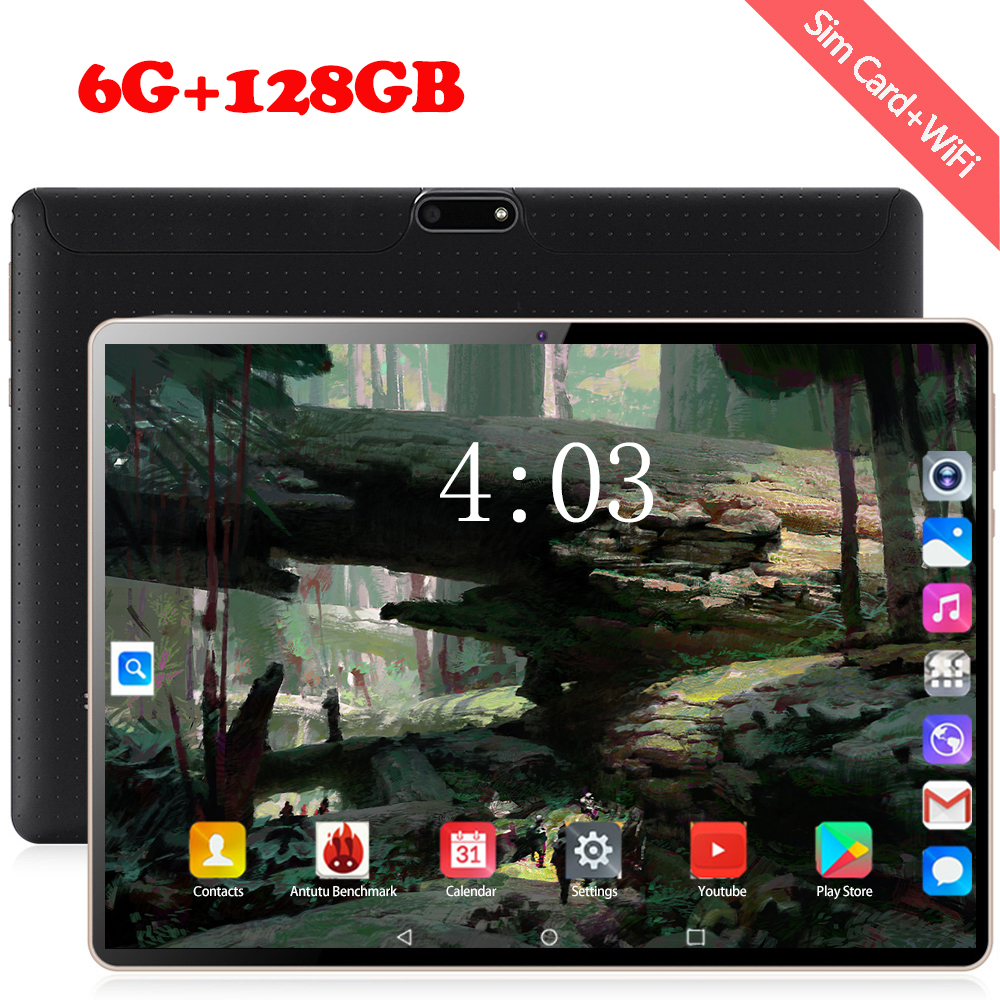 4G Tablet PC 10.1 Inch 3G\4G LTE Octa Core 128GB ROM Phone Call Tablets Android 8.0 Tablet  1920*1200 WiFi GPS Bluetooth Pad