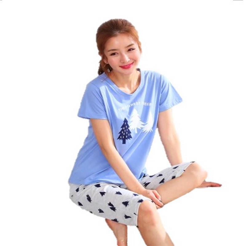 Free Shipping Plus Size M 5XL Women Pajamas Set Summer Short Sleeve Pyjamas 100% Cotton Women Sleepwear Cute Cartoon PijamasPajama Sets   -