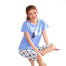 Mais tamanho M 5XL pijamas femininos verão manga curta pijamas 100% algodão pijamas bonitos dos desenhos animados