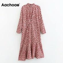 Dresses-Stand Spring-Robe Mermaid-Dress Long-Sleeve Heart-Print Aachoae Midi Women Female