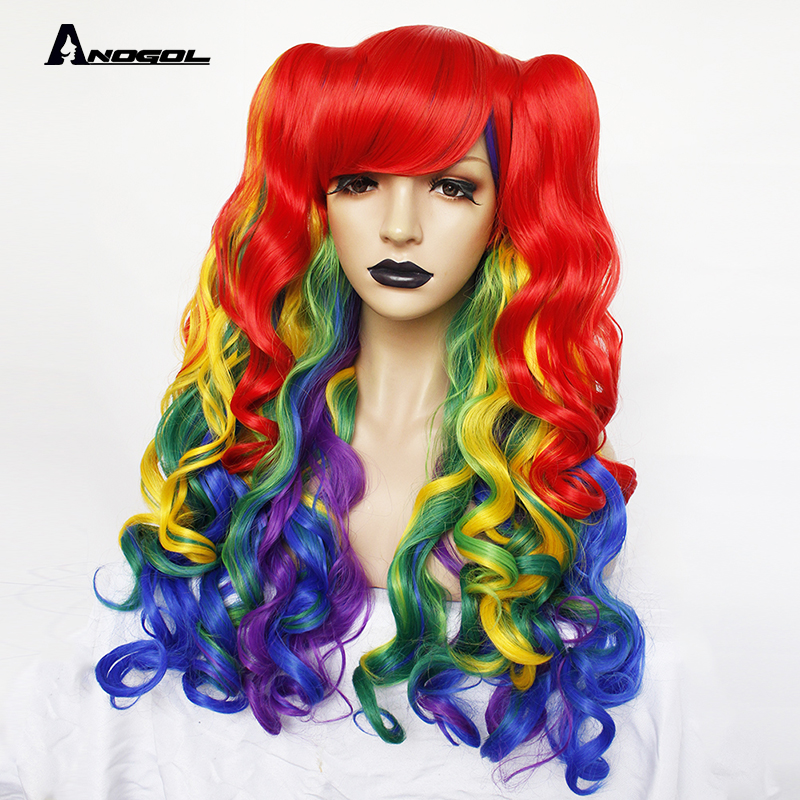 Image 2 - ANOGOL Lolita Rainbow Wig High temperature fiber Pigtail 6ix9ine  My Little Pony Synthetic Cosplay Wigs For Girls HalloweenSynthetic None-Lace  Wigs   -