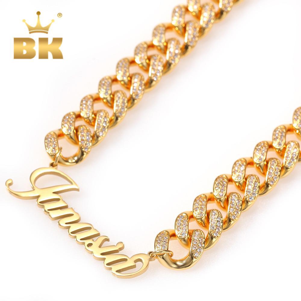 Золотая медная цепочка Bling King 12 мм, роскошная кубинская цепочка с покрытием из нержавеющей стали с искусственным шрифтом, ожерелье с камнями...