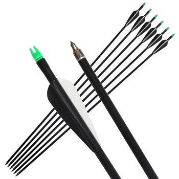 "6pcs/lot, 85cm Length 33"" Fiberglass Arrow with Changable Arrowhead, Nock Proof,Spine 500 Hunting Compound Bow /Long Bow Arrow|fiberglass arrows|bow arrowspine 500 -"