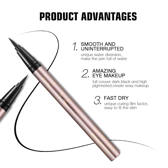 O.TWO.O 24 Hours Lasting Eyeliner Liquid Black Color Waterproof Eye Liner Pencil Smudge-Proof Cosmetic 4