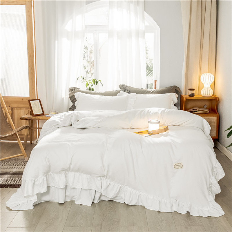 Solid Color Ruffled White Duvet Cover Bed sheet Pillowcase Queen Twin King Washed Microfiber 3/4Pcs Bedding Sets Soft Breathable|Bedding Sets|   - title=