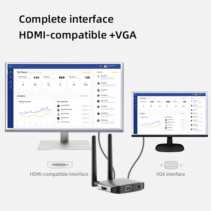 Hagibis Wireless HDMI-compatible Video Transmitter & Receiver Extender Display Adapter Dongle for TV Monitor Projector switch PC 5