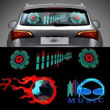 Niscarda-ECUALIZADOR activado por sonido LED para parabrisas de coche, luz de neón, lámpara Flash rítmica con música, estilo con caja de Control