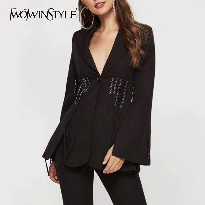 TWOTWINSTYLE Autumn Lace Up Split Blazer For Women Notched Collar Long Sleeve Elegant Coat Female 2019 Fashion Clothing New
