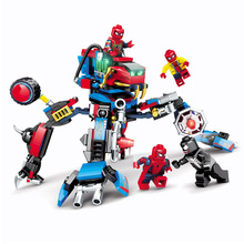 4 In1 Spider Man Figure Motorcycle Venom Scanes Spiderman Marvel Super Hero Model Building Blocks Set Bricks Toys sermoido sale spiderman iron man captain america superman figure motorcycle super hero model cap building blocks set model kits