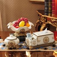 High grade household European style ceramics fruit tray paper smoking cylinder set luxury tea table fruit tray three sets