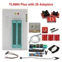 100% Original New V10.27 TL866II Plus Universal Minipro Programmer+28 Adapters+Test Clip TL866 PIC Bios High speed Programmer