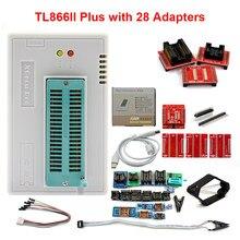 100% original mais novo v10.55 tl866ii plus universal minipro programador + 28 adaptadores clipe de teste tl866 pic bios alta velocidade programador