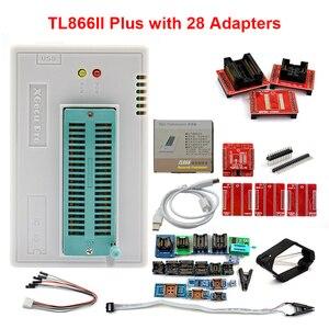 Image 1 - 100% Original más nuevo V10.55 TL866II Plus Universal Minipro programador + 28 adaptadores + Clip de prueba TL866 foto Bios de alta velocidad programador