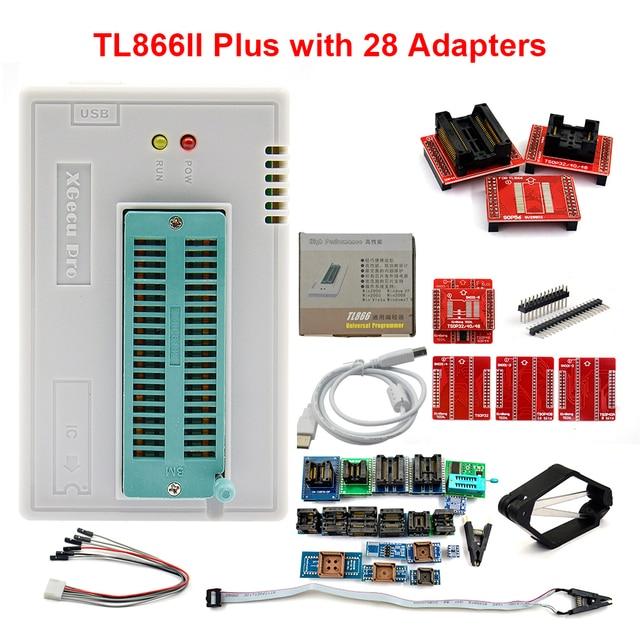 100% מקורי חדש V10.27 TL866II בתוספת אוניברסלי Minipro מתכנת + 28 מתאמי + מבחן קליפ TL866 PIC Bios גבוהה מהירות מתכנת
