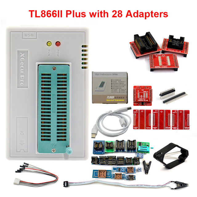 Kit programador, 100% original novo v10.27 tl866ii plus universal minipro + 28 adaptadores + clipe de teste tl866 pic bios de alta velocidade programador