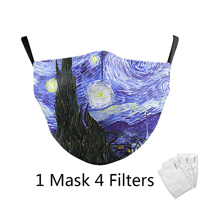 4Pcs Filter Classic Van Gogh Oil Draw Print fashion Face Masks  Adult mask Reusable Washable Fabric Mouth Mask PM 2.5 Dust Masks 1