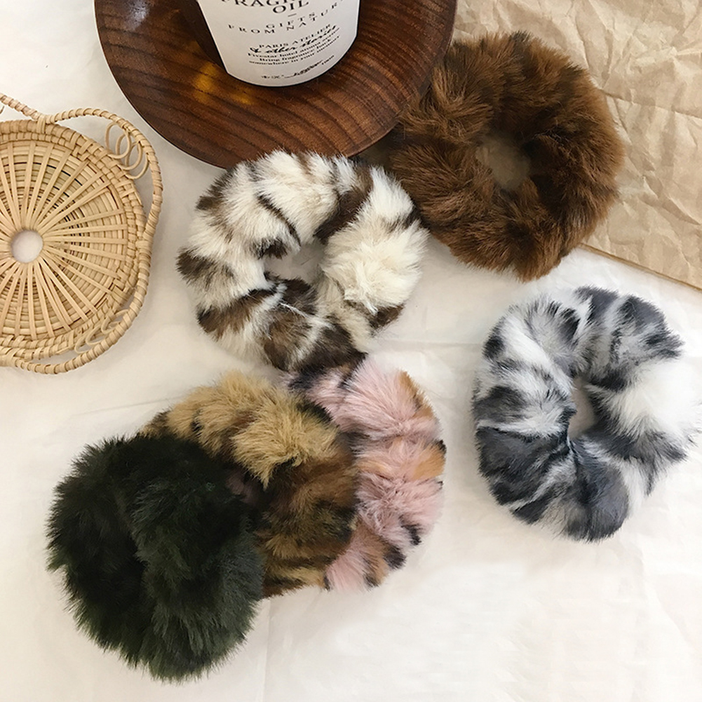 New Leopard Print Fluffy Scrunchie Faux Fur Furry Elastic Hair Ring Rope Band Tie Round Girls Scrunchies