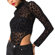 Leopard-print jumpsuit Sexy perspective hollow Women Long Sleeve Leopard Bodysuit Night Club Ladies Slim Bodysuits Female