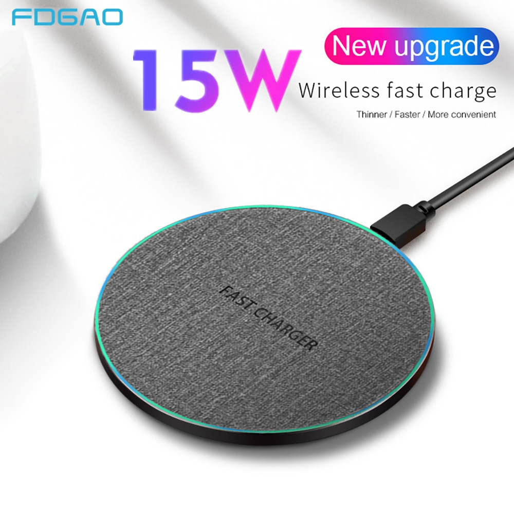 FDGAO 15W Qi Wireless Quick Charger for iPhone 8 X XR XS Max Airpods 2 10W Fast Charging Pad For Sasmung S10 S9 S8 Note 10 9