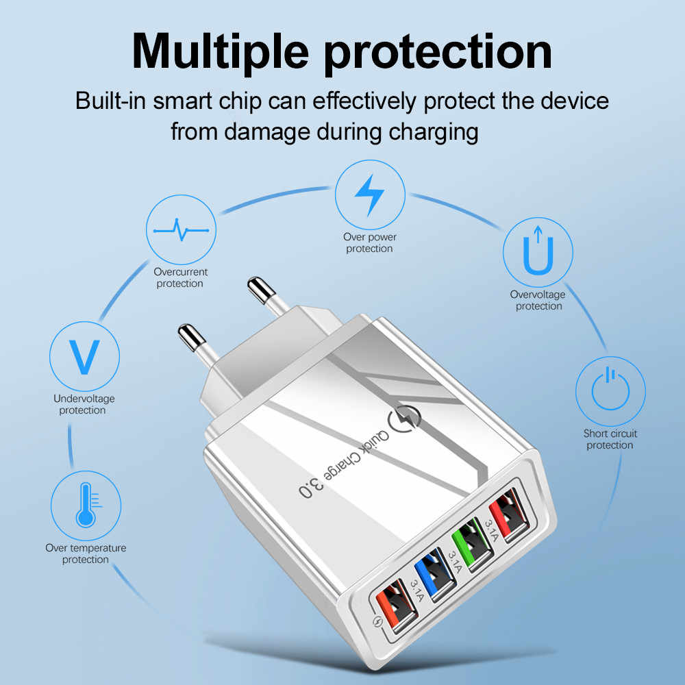 Eu/US Plug Usb Charger Pengisian Cepat 3.0 untuk Ponsel Adaptor untuk HUAWEI Mate 30 Tablet Portable Dinding Ponsel charger Cepat Charger