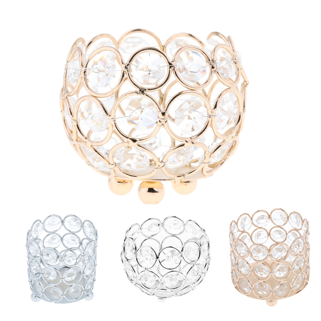 Crystal Tealight Candle Lantern Holders Gold Silver Candlesticks for Wedding Xmas Party Dinner Table Centerpieces Home Decors(China)