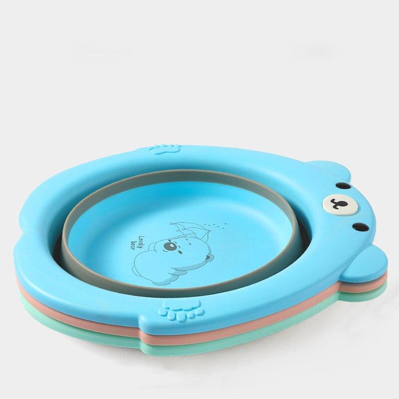 Купить с кэшбэком Baby Wash Basin Foldable Plastic Nursing Newborn Portable toddler health travel cartoon Pots wash basin Nursery