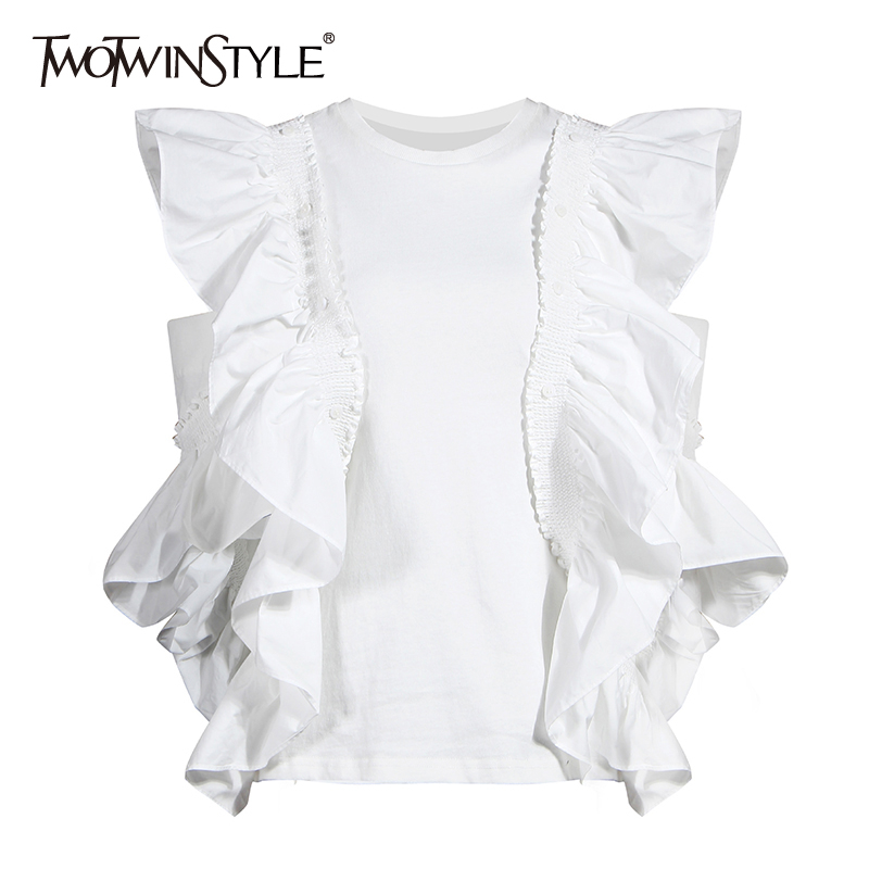 TWOTWINSTYLE Elegant Patchwork Ruffles Women T Shirt O Neck Hollow Out Off Shoulder Loose T-shirt For Female Clothes Fashion New