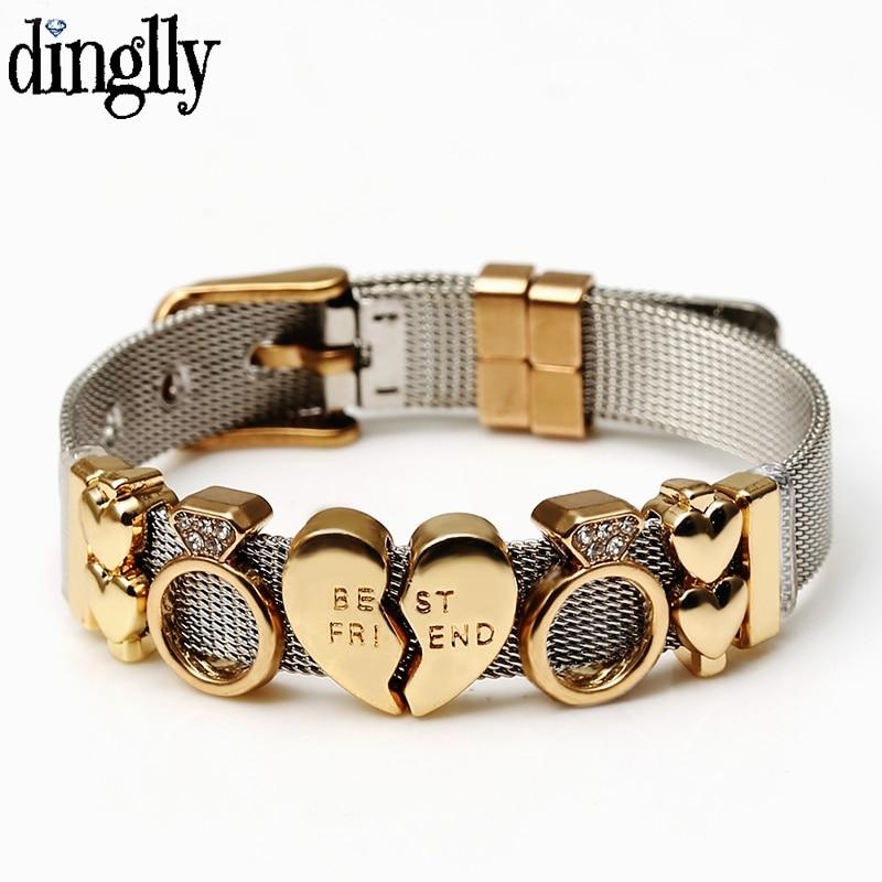 DINGLLY Two-tone Stainless Steel Mesh Bracelets For Women Men Golden Love Heart Beaded 10mm Ribbon Mesh Bracelet & Bangle Gifts(China)