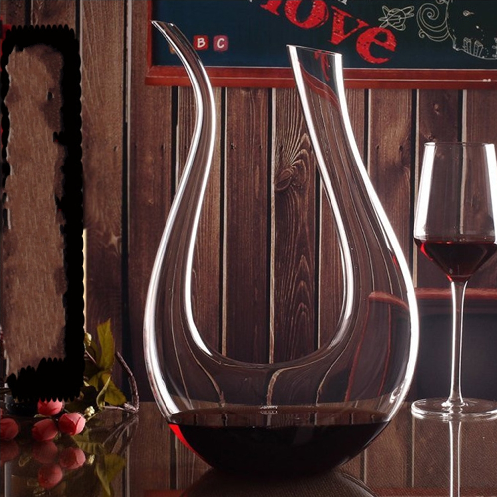 U Shaped 1500ml Crystal Glass Red Wine Whiskey Decanter Pourer Container Champagne Water Bottle Juice Drinking Glasses