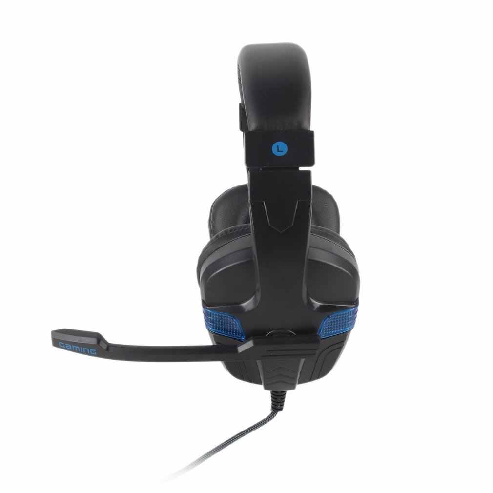 משחקי אוזניות סטריאו משחק אוזניות רך לובש אוזניות עם מיקרופון RGB LED אור עבור PS4 עבור חדש Xbox אחד מחשב מחשב גיימר