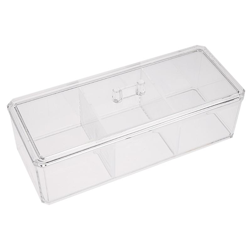 Transparent 3 Grid Jewelry Box Drawer Crystal Cosmetics Boxes