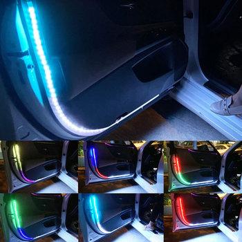 Samochodowe oświetlenie LED do drzwi taśmy Car Styling Strobe RGB ostrzeżenie światło na próg Bar wodoodporna witamy światło anty tylne lampy kolizji tanie i dobre opinie SEAMETAL CN (pochodzenie) Światło na powitanie Car Door Lights C40585 Warning light Remind the rear car Car door interior