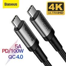 Baseus USB 3,1 tipo C a USB tipo C Cable para Samsung S9 S10 Xiaomi QC4.0 PD 100W cargador rápido compatible con HDMI Cable para MacBook