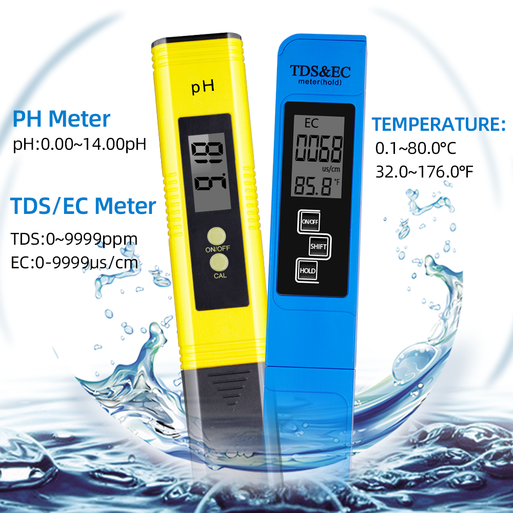Digital PH EC TDS Meter Tester Thermometer Pen Water Purity PPM Filter Hydroponic For Aquarium Pool Water Monitor 40%off